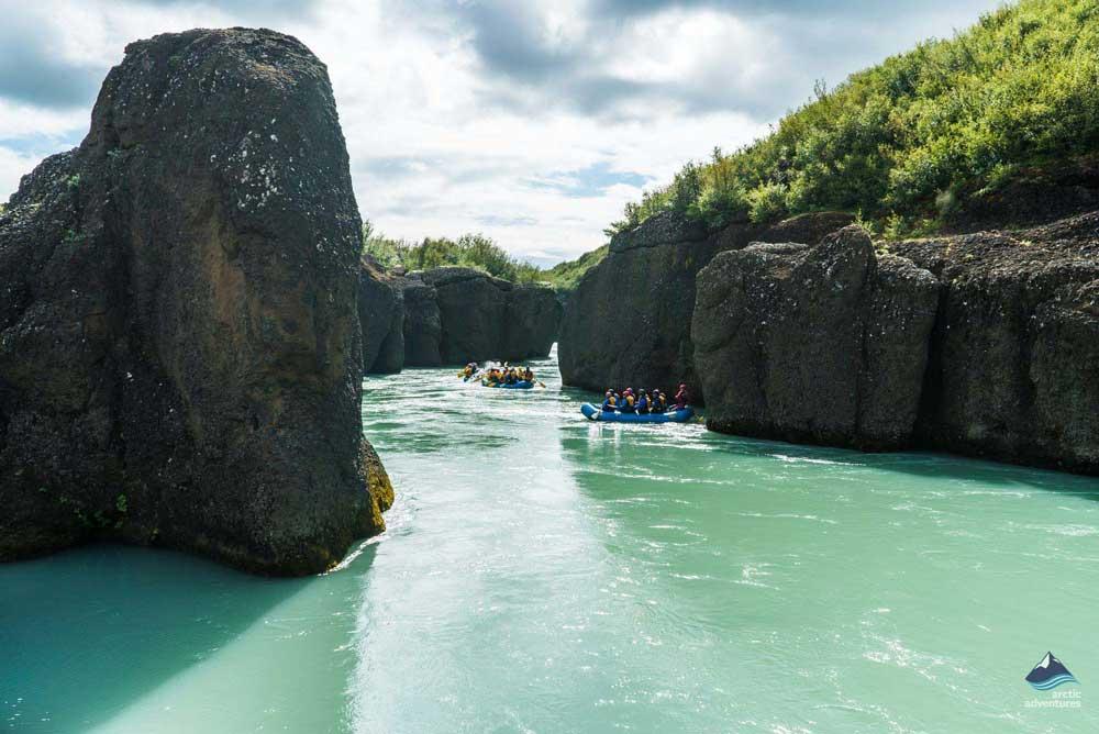 rafting through river rocks