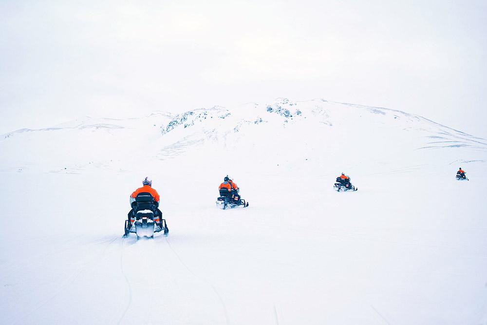 snowmobiling on Eyjafjallajokull glacier