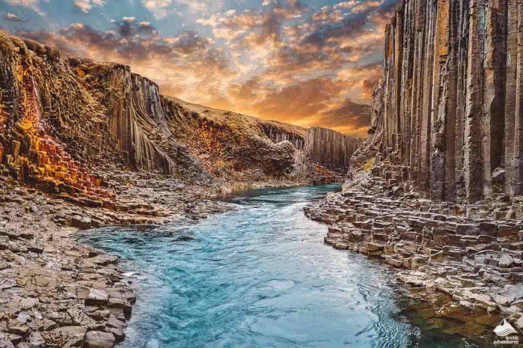 Studlagil basalt canyon