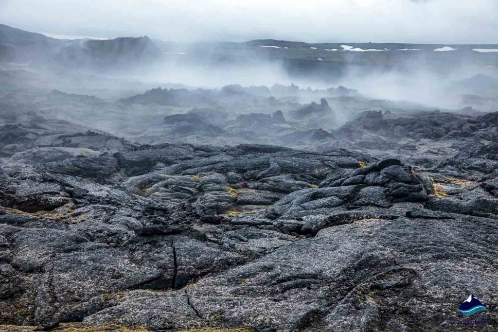 Hot steaming lava field at Krafla volcanic area