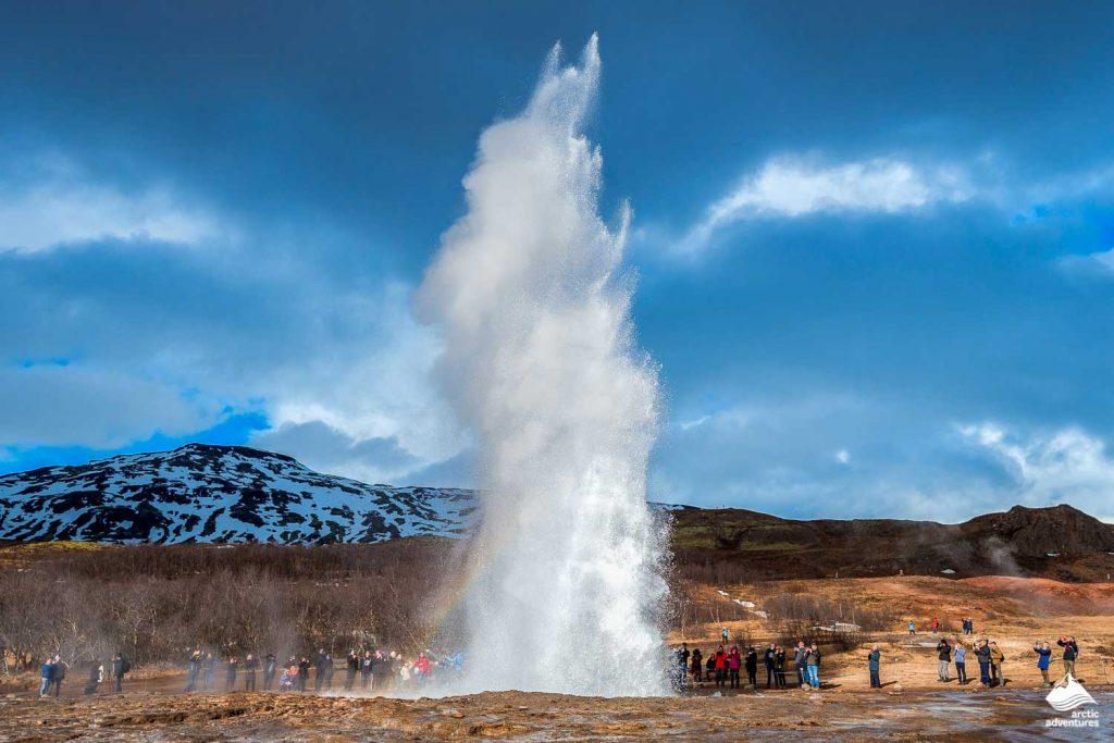 Strokkur geysir eruption in Iceland.