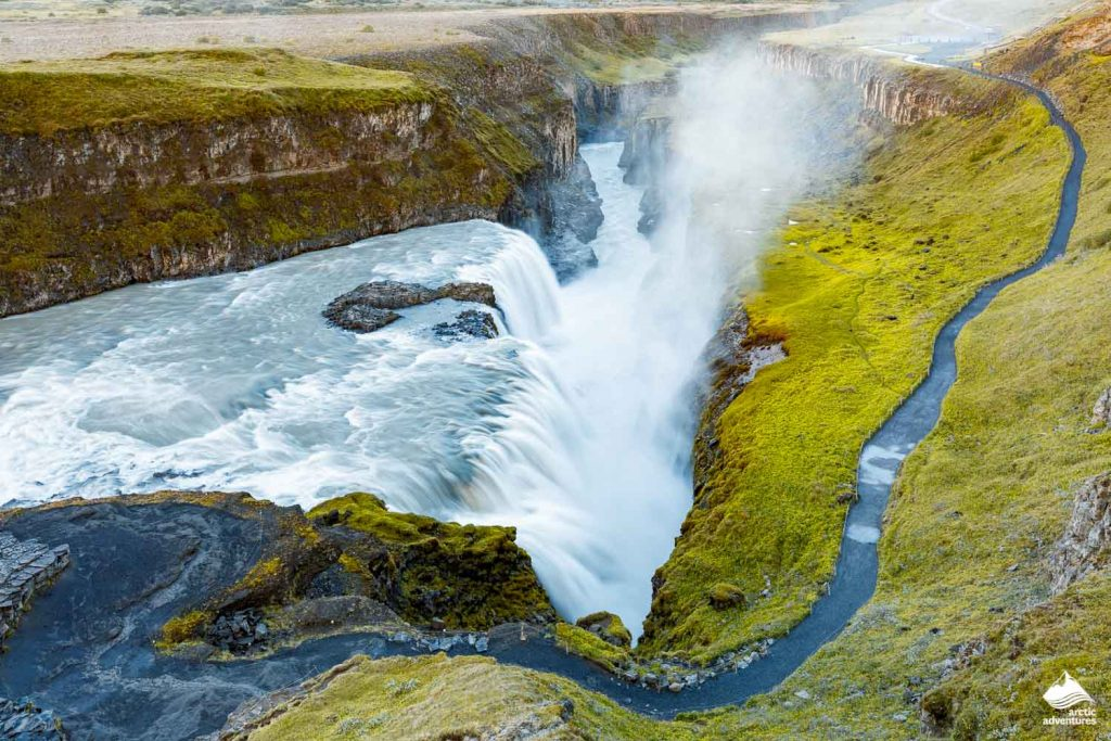 Gullfoss Waterfall on the Golden Circle road