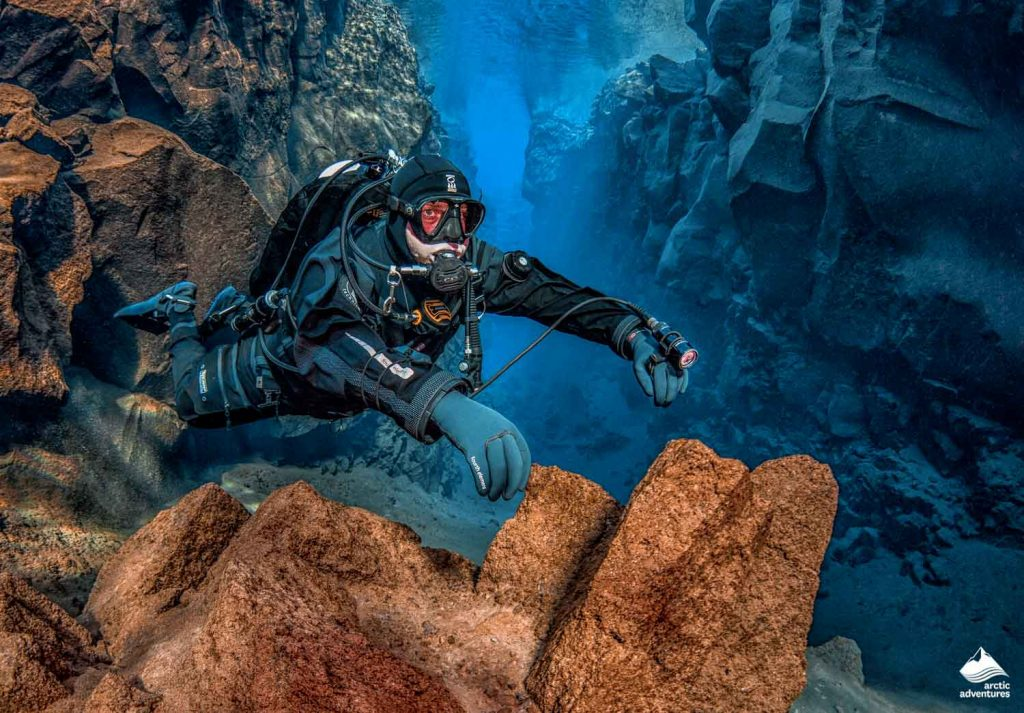 Diver Diving in Silfra Fissure