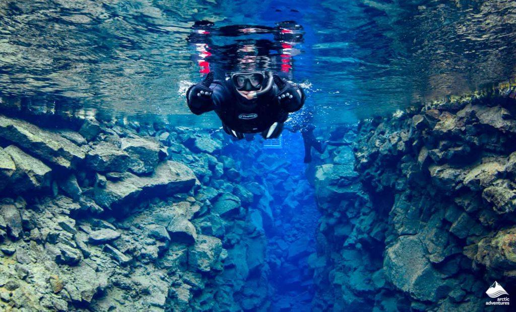 Snorkeling in crystal Silfra water