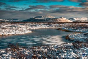 Frozen lake and Hverfjall Crater