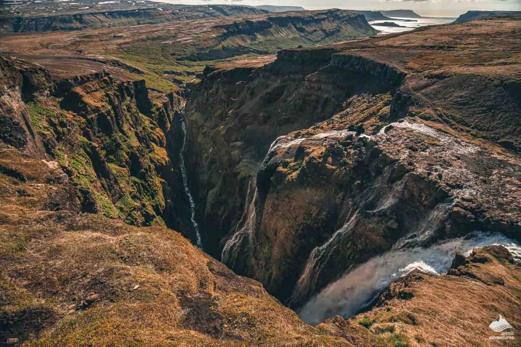Aerial view of Glymur waterfall in iceland