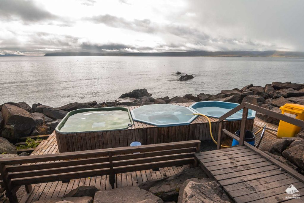 Drangsnes hot pools in Westfjord region of Iceland