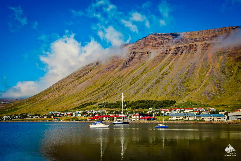 Isafjordur town fjord in summer