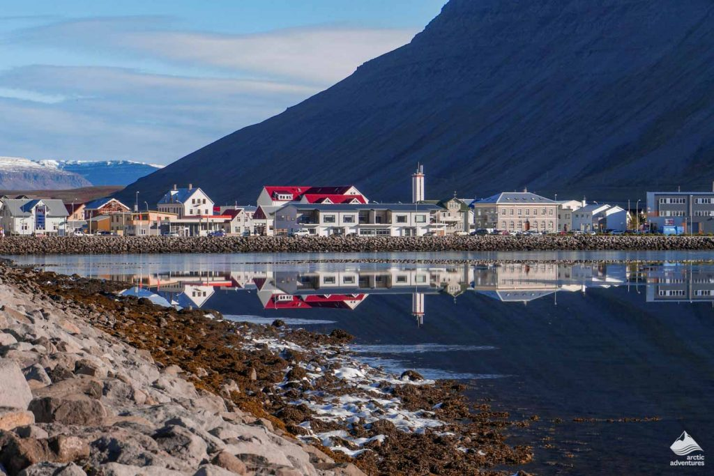 Reflections in the water in the town of Isafjordur
