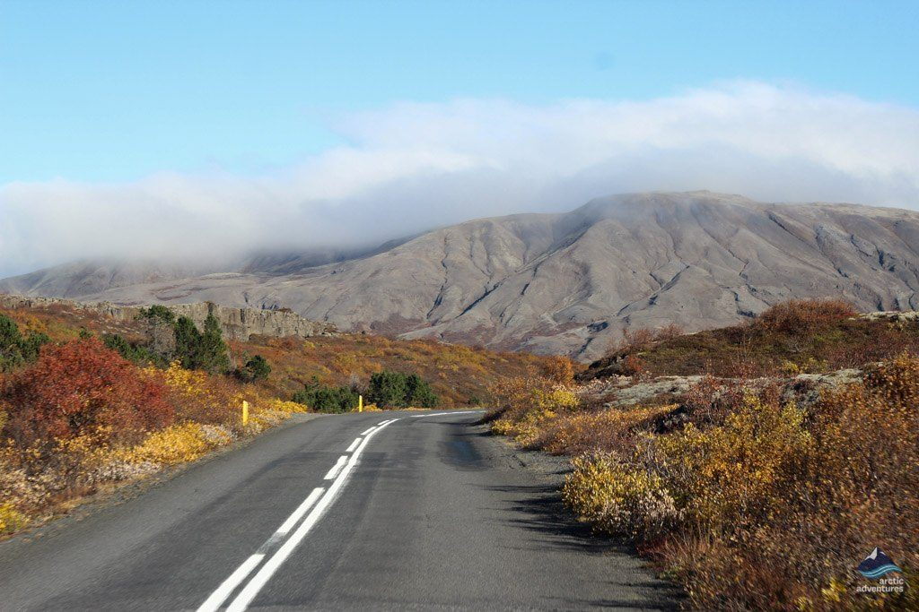 Road near Thingvellir National Park in Iceland