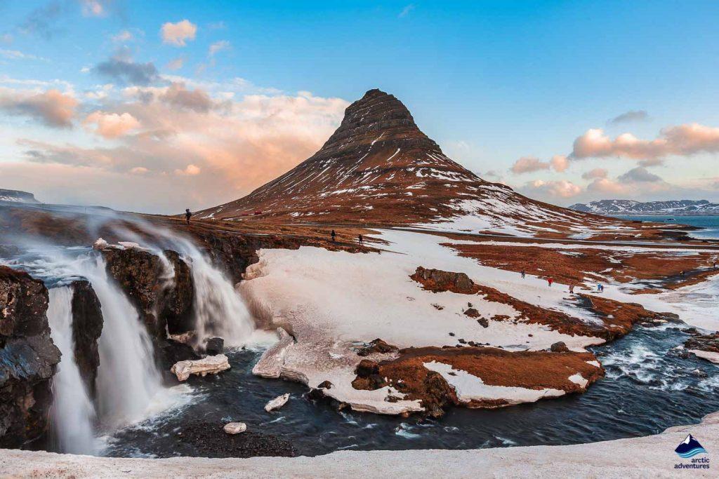 Snowy Kirkjufell mountain